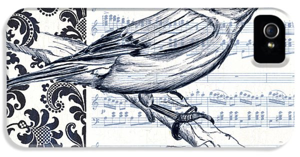 Bluebird iPhone 5 Case - Indigo Vintage Songbird 1 by Debbie DeWitt