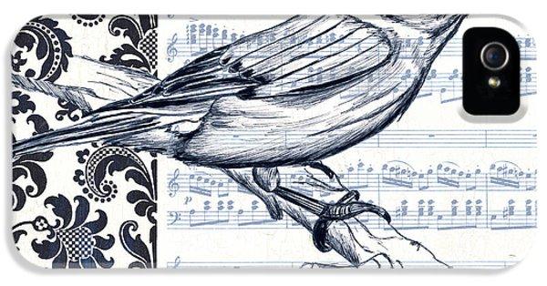 Indigo Vintage Songbird 1 IPhone 5 Case by Debbie DeWitt