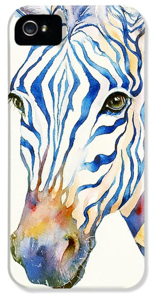 Intense Blue Zebra IPhone 5 Case by Arti Chauhan
