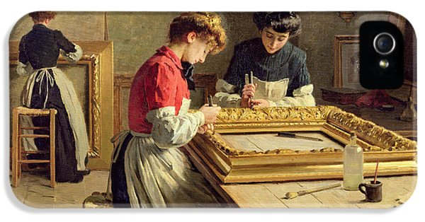 Interior Of A Frame Gilding Workshop IPhone 5 Case by Louis Emile Adan