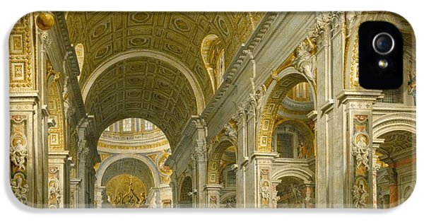 Interior Of St. Peter's - Rome IPhone 5 Case by Giovanni Paolo Panini