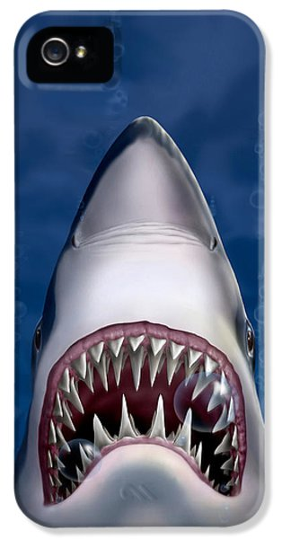 iPhone - Galaxy Case - Jaws Great White Shark Art IPhone 5 Case by Walt Curlee