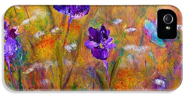 IPhone 5 Case featuring the painting Iris Wildflowers And Butterfly by Claire Bull