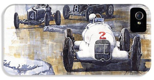 Alfa Romeo iPhone 5 Cases - Italian GP 1934 MB W25 Alfa Romeo P3 Maserati Tipo 34 iPhone 5 Case by Yuriy  Shevchuk