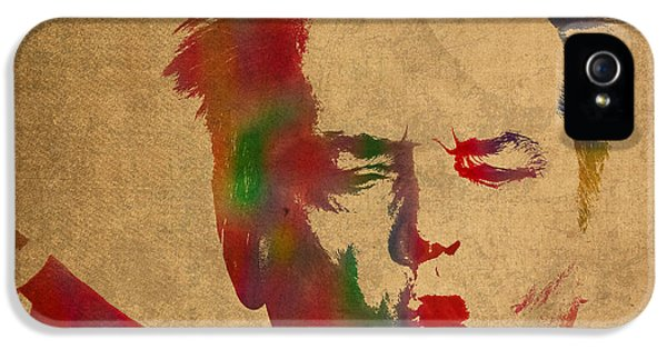 Jack Nicholson iPhone 5 Case - Jack Nicholson Smoking A Cigar Blowing Smoke Ring Watercolor Portrait On Old Canvas by Design Turnpike