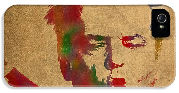 Jack Nicholson Smoking A Cigar Blowing Smoke Ring Watercolor Portrait On Old Canvas IPhone 5 Case by Design Turnpike