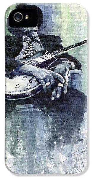 Jazz iPhone 5 Case - Jazz Bluesman John Lee Hooker 04 by Yuriy Shevchuk