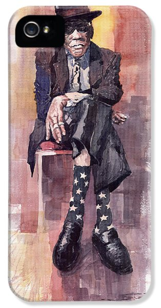 Jazz Bluesman John Lee Hooker IPhone 5 Case by Yuriy  Shevchuk