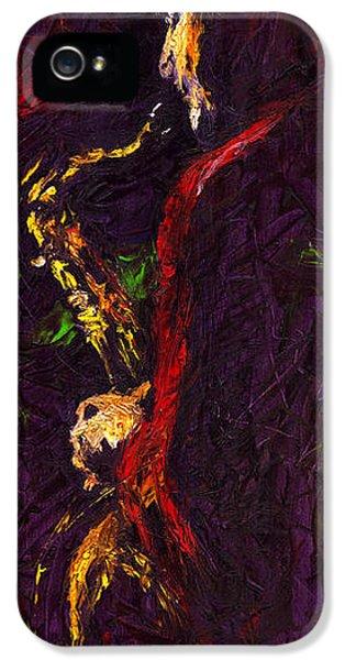Jazz iPhone 5 Case - Jazz Red Saxophonist by Yuriy Shevchuk