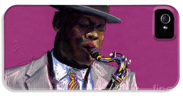 Jazz Saxophonist IPhone 5 Case by Yuriy  Shevchuk