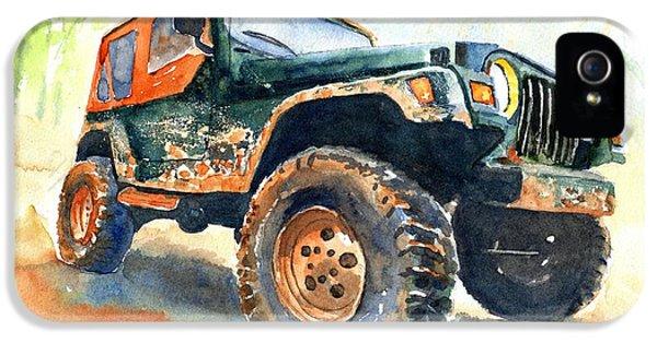 Car iPhone 5 Case - Jeep Wrangler Watercolor by Carlin Blahnik CarlinArtWatercolor