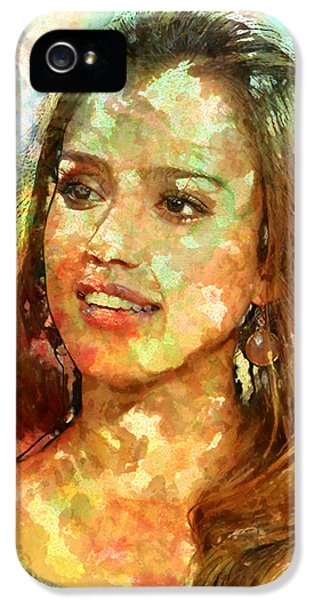 Jessica Alba IPhone 5 Case by Elena Kosvincheva