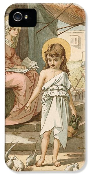 Jesus As A Boy Playing With Doves IPhone 5 Case