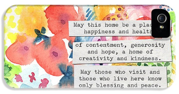 Jewish Home Blessing- Floral Watercolor IPhone 5 Case