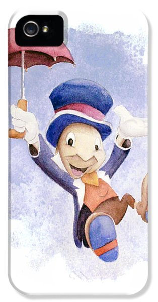 Insect iPhone 5 Case - Jiminy Cricket With Umbrella by Andrew Fling