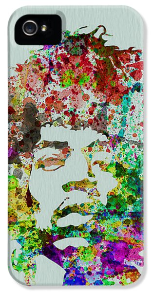 Rock And Roll iPhone 5 Cases - Jimmy Hendrix watercolor iPhone 5 Case by Naxart Studio