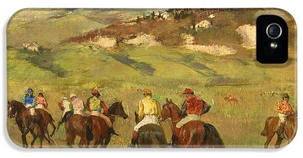 Jockeys On Horseback Before Distant Hills IPhone 5 Case by Edgar Degas