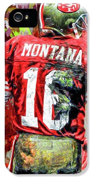 Joe Montana Football Digital Fantasy Painting San Francisco 49ers IPhone 5 Case by David Haskett