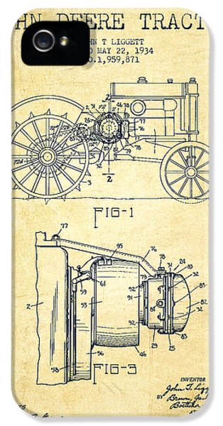 John Deere Tractor Patent Drawing From 1934 - Vintage IPhone 5 Case