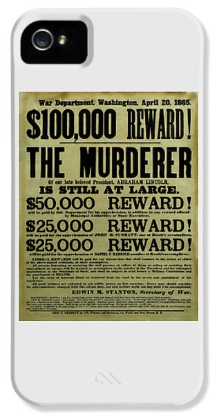 John Wilkes Booth Wanted Poster IPhone 5 Case by War Is Hell Store