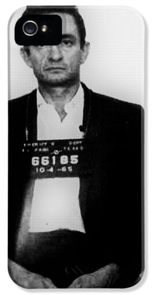 Johnny Cash iPhone 5 Case - Johnny Cash Mug Shot Vertical by Tony Rubino