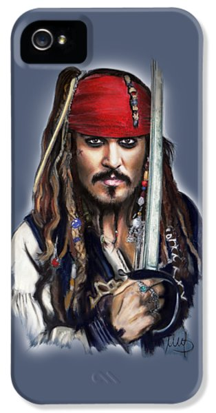 Johnny Depp As Jack Sparrow IPhone 5 Case by Melanie D