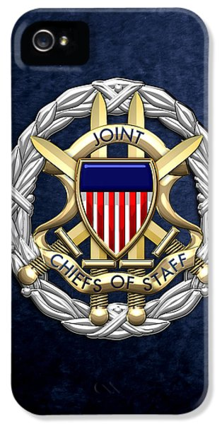 Joint Chiefs iPhone 5 Cases - Joint Chiefs of Staff - J C S Identification Badge on Blue Velvet iPhone 5 Case by Serge Averbukh