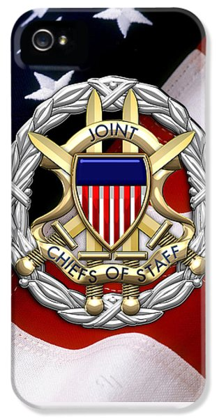 Joint Chiefs Of Staff - J C S Identification Badge Over U. S. Flag IPhone 5 Case