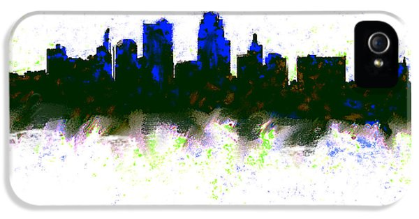 Kansas City Skyline Blue  IPhone 5 Case by Enki Art