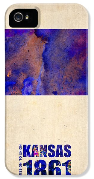 Kansas Watercolor Map IPhone 5 Case by Naxart Studio