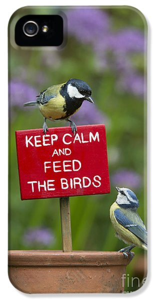 Titmouse iPhone 5 Case - Keep Calm And Feed The Birds by Tim Gainey