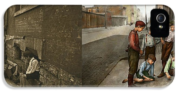 Kids - Cincinnati Oh - A Shady Game 1908 - Side By Side IPhone 5 Case by Mike Savad