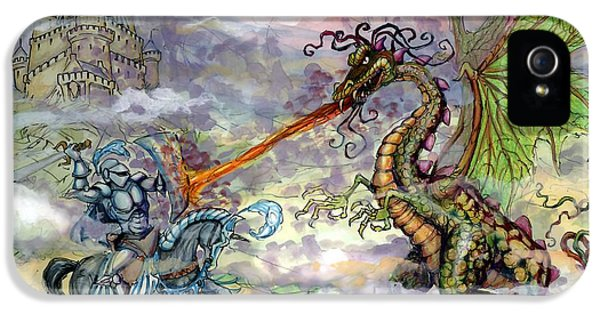Fantasy iPhone 5 Case - Knights N Dragons by Kevin Middleton