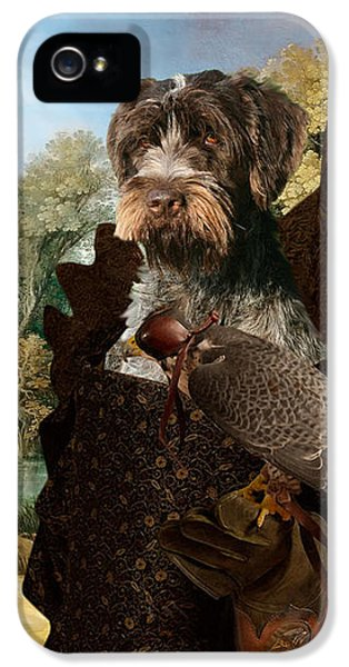Korthals Pointing Griffon Art Canvas Print - The Hunters And Lady Falconer IPhone 5 Case