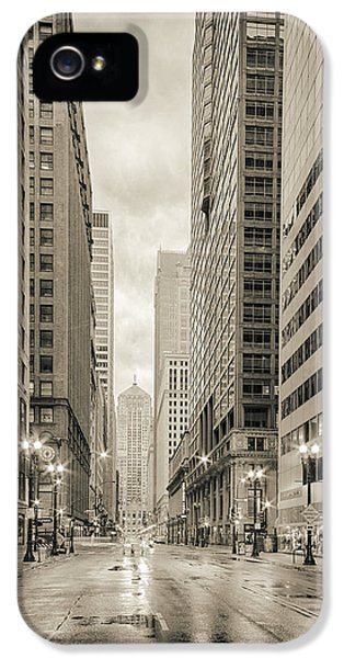 Lasalle Street Canyon With Chicago Board Of Trade Building At The South Side - Chicago Illinois IPhone 5 Case by Silvio Ligutti