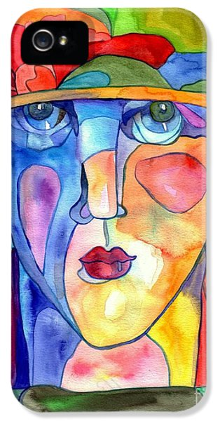Panther iPhone 5 Case - Lady In Hat Watercolor by Suzann's Art