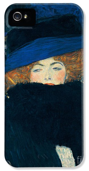Lady With A Hat And A Feather Boa IPhone 5 Case by Gustav Klimt