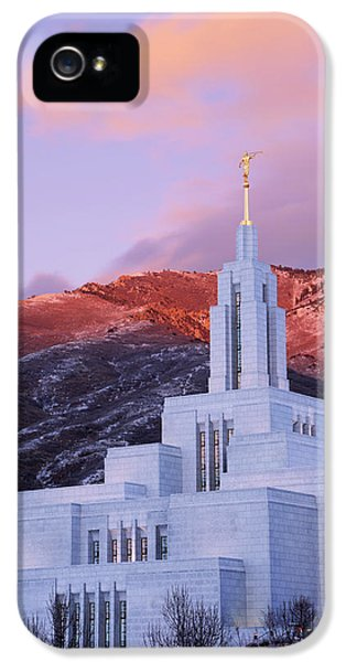 Last Light At Draper Temple IPhone 5 Case by Chad Dutson