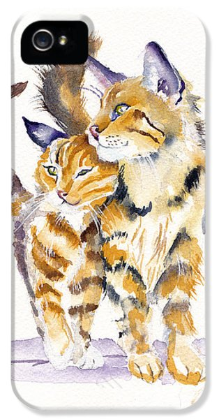Cat iPhone 5 Case - Lean On Me by Debra Hall