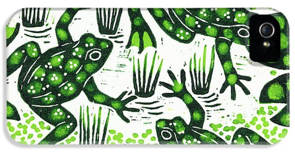 Amphibians iPhone 5 Case - Leaping Frogs by Nat Morley