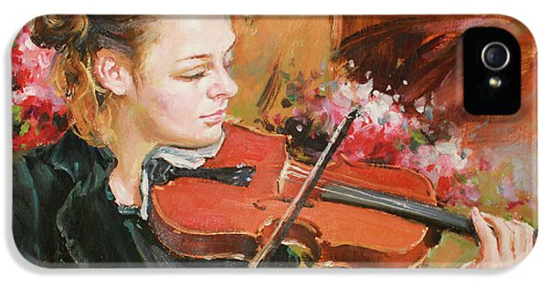Violin iPhone 5 Case - Learning The Violin by Conor McGuire