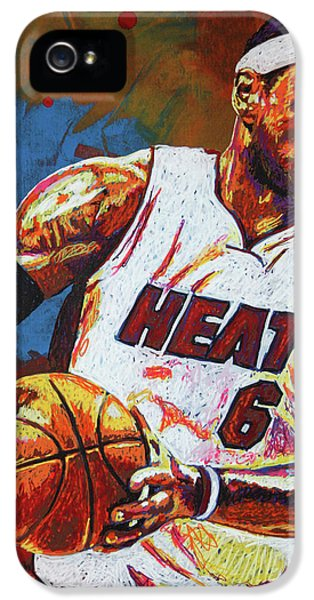 Lebron James 3 IPhone 5 Case by Maria Arango