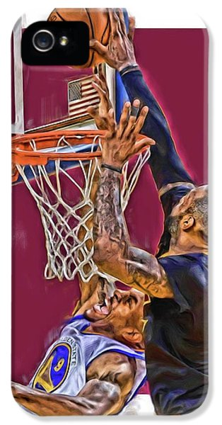Lebron James Cleveland Cavaliers Oil Art IPhone 5 Case by Joe Hamilton