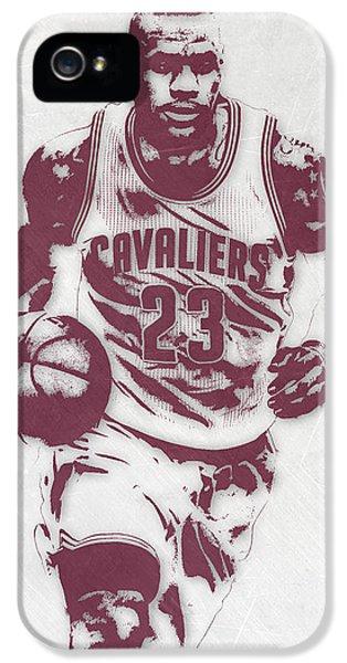 Lebron James Cleveland Cavaliers Pixel Art 4 IPhone 5 Case by Joe Hamilton