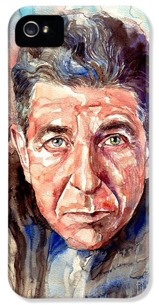 Rolling Stone Magazine iPhone 5 Case - Leonard Cohen Painting by Suzann's Art