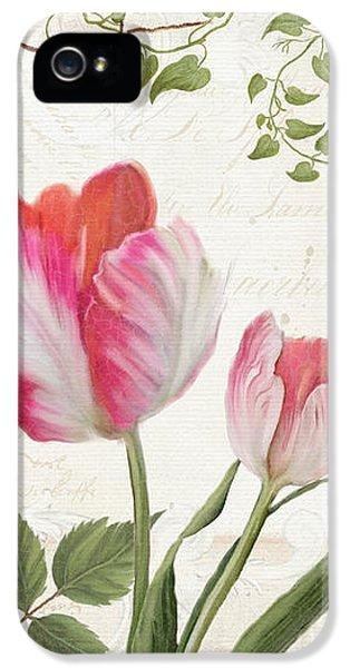 Bunting iPhone 5 Case - Les Magnifiques Fleurs I - Magnificent Garden Flowers Parrot Tulips N Indigo Bunting Songbird by Audrey Jeanne Roberts