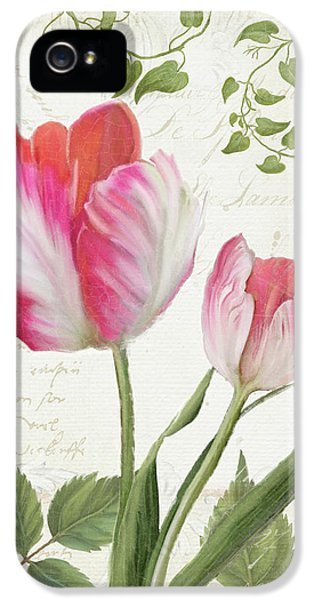 Les Magnifiques Fleurs IIi - Magnificent Garden Flowers Parrot Tulips N Indigo Bunting Songbird IPhone 5 Case by Audrey Jeanne Roberts