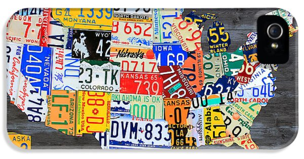License Plate Map Of The Usa On Gray Distressed Wood Boards IPhone 5 Case by Design Turnpike