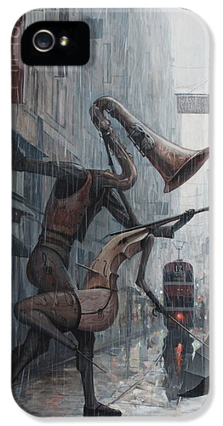 Violin iPhone 5 Case - Life Is  Dance In The Rain by Adrian Borda