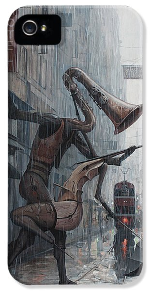 Saxophone iPhone 5 Case - Life Is  Dance In The Rain by Adrian Borda